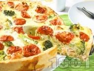 Рецепта Киш с броколи, чери домати и сьомга